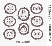 cute animal faces in frames... | Shutterstock .eps vector #477995782