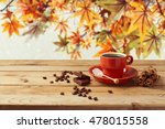 coffee cup on wooden table over ... | Shutterstock . vector #478015558