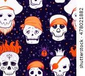 halloween cute seamless pattern.... | Shutterstock .eps vector #478021882