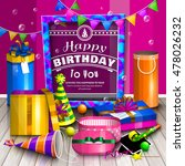 happy birthday greeting card.... | Shutterstock .eps vector #478026232