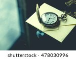 Small photo of Vintage antique watches and airmail letter on Glass table