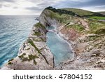 bay and cliffs in south england ...