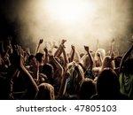 crowd at a music concert ... | Shutterstock . vector #47805103