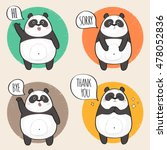 set of cute panda character... | Shutterstock .eps vector #478052836