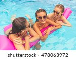 beautiful girls in swimwear and ... | Shutterstock . vector #478063972
