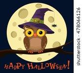 Cartoon Owl In Hat On Moon...