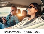 happy family riding in a car | Shutterstock . vector #478072558