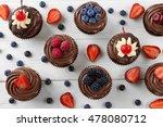 delicious chocolate cupcakes... | Shutterstock . vector #478080712