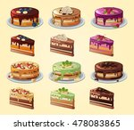 set of cakes and slices with... | Shutterstock .eps vector #478083865