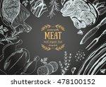 vintage meat  frame. vector... | Shutterstock .eps vector #478100152