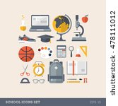 flat colorful school icons set | Shutterstock .eps vector #478111012