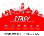 italy travel landmarks. vector... | Shutterstock .eps vector #478133122
