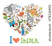 set of india  heart shaped  ... | Shutterstock . vector #478136902