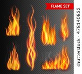 fire flame strokes realistic... | Shutterstock . vector #478140832