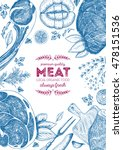 vintage meat frame. vector... | Shutterstock .eps vector #478151536