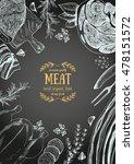 vintage meat frame. vector... | Shutterstock .eps vector #478151572