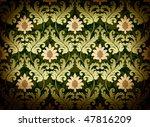 Decorative green renaissance background - stock photo