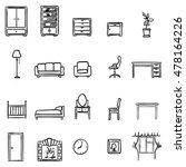 vector set of black doodle... | Shutterstock .eps vector #478164226