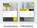 Yellow flyer. Corporate business annual report brochure flyer design. Leaflet cover presentation. Flier with Abstract geometric background. Modern publication poster magazine, layout template A4  | Shutterstock vector #478166062