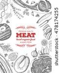 vintage meat frame. vector... | Shutterstock .eps vector #478174255