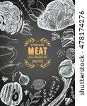 vintage meat frame. vector... | Shutterstock .eps vector #478174276