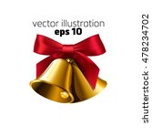 realistic golden two bell with... | Shutterstock .eps vector #478234702