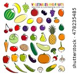 set of simple images fruit and... | Shutterstock .eps vector #478235485