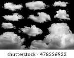 set of isolated clouds on black ... | Shutterstock . vector #478236922