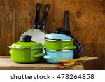 Set Of Metal Pots Cookware On ...