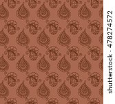 seamless indian paisley pattern.... | Shutterstock .eps vector #478274572