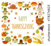 thanksgiving day icon set. flat ... | Shutterstock .eps vector #478276825