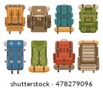 Camping Backpack Set In Flat...