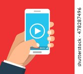 smartphone with video player on ... | Shutterstock .eps vector #478287496