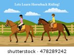 boy and girl learning horseback ... | Shutterstock .eps vector #478289242