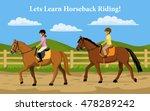 boy and girl learning horseback ... | Shutterstock .eps vector #478289242