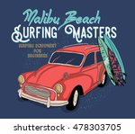 surfing artwork with a hippie... | Shutterstock .eps vector #478303705