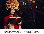 Woman With Autumn Leaves Crown...