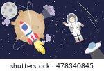 astronaut floating in cosmos.... | Shutterstock .eps vector #478340845