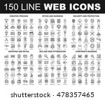 vector set of 150 flat line web ... | Shutterstock .eps vector #478357465