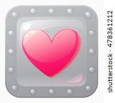 heart game icon in metal frame. ...