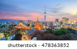 View of Tokyo skyline at sunset in Japan.