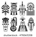 ethnic masks or tribal masks... | Shutterstock .eps vector #478365208