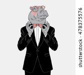 hippo dressed up in tuxedo... | Shutterstock .eps vector #478375576