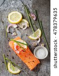 one piece of fresh salmon with... | Shutterstock . vector #478379635