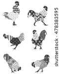 roosters with graphic patterns...   Shutterstock .eps vector #478383595