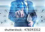 businessman is pressing button... | Shutterstock . vector #478393312