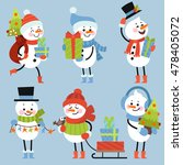 set of winter holidays snowman. ... | Shutterstock .eps vector #478405072