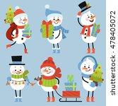 set of winter holidays snowman. ... | Shutterstock .eps vector #478405072