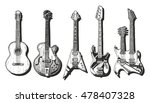 hand drawn set of guitars.... | Shutterstock . vector #478407328