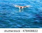 Strong Athletic Man Swimming...